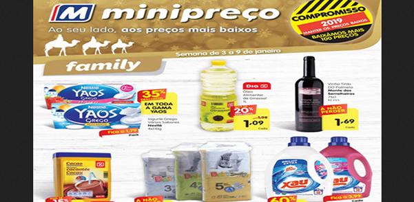 Folheto do Minipreço com as promoções e descontos válido de 3 a 9 de Janeiro de 2019 – Folhetos e descontos